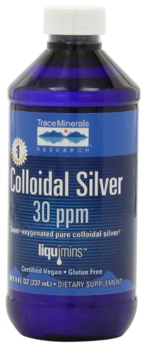 Trace Minerals Research Liquimins Colloidal Silver 30 ppm, Dietary supplement Liquid Formula , 8 fl oz bottle