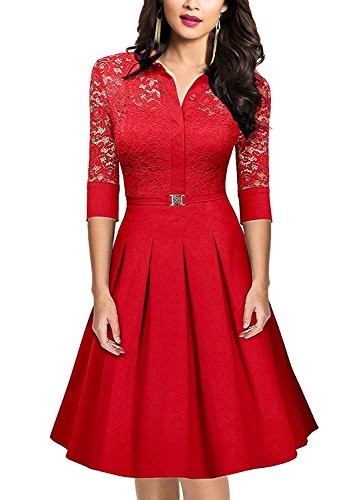 SUJAN 3 4 Swing Neck Women's Sleeve Dresses Vintage with Square Cocktail Red Lace 4T64zqrv