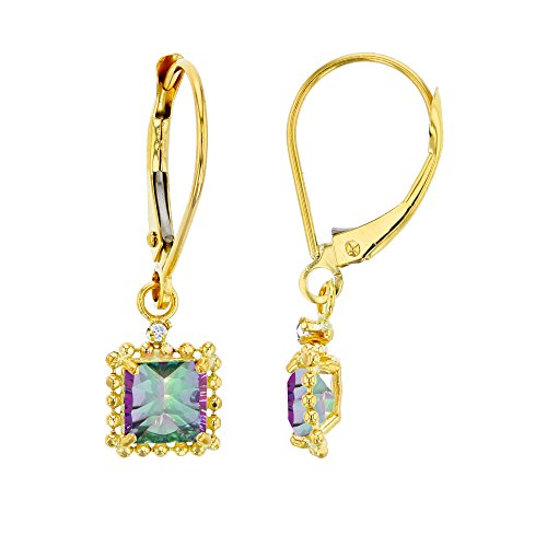 14K Yellow Gold 1.25mm Round Created White Sapphire & 5mm Square Mystic Green Quartz Bead Frame Drop Leverback Earring ()