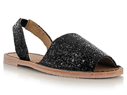 Chockers Shoes Womens Ladies Girls Glitter Metallic Nubuck Open Toe Spanish Menorcan Slip On Mule Sandals Black Glitter bGZKAu
