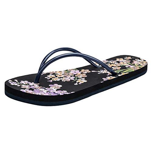 (♡QueenBB♡ Women's Flip Flops Bohemia Floral Print Sandals Beach Slippers Shower Slippers Black)