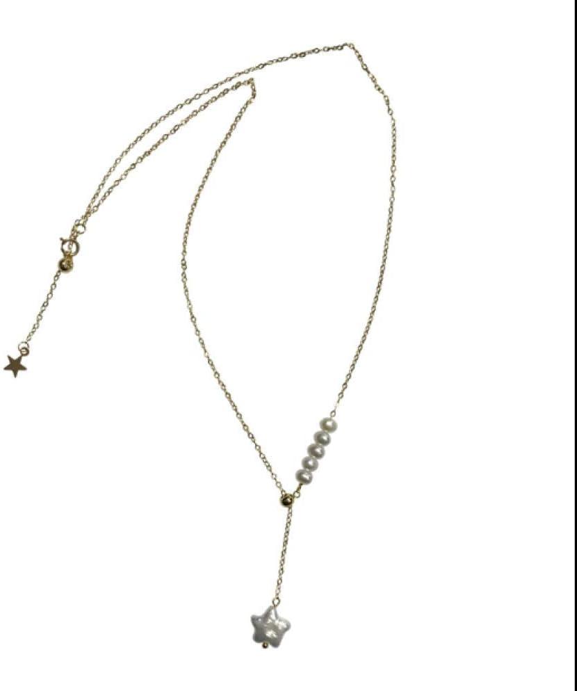 BAIMM Wild S925 Collar de Perlas Naturales de Plata esterlina Mujer Estrella de Cinco Puntas Barroco Perla Cuello Cadena Clavícula Cadena Joyería Elegante