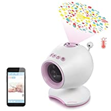 HOLABABY P1 HD Video Baby Monitor Camera | Monitor Live Baby Sound Sleep & Light Projector with Lullabies, Soothing Projection | Sleepy & Relaxing Temperature, with Night Vision (Pink)