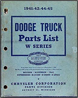 Dodge Truck Parts >> 1941 1945 Dodge Pickup And Truck Parts Book Original Dodge