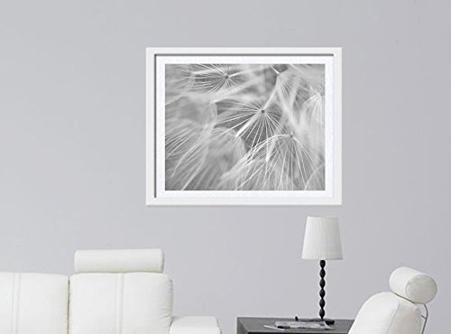 Dandelion Artwork, Pale Grey White Flower Abstract Wall Art, Modern Black and White Photography Print, Large Floral Picture, Nursery, Baby Girl Room Decor, Vertical or Horizontal