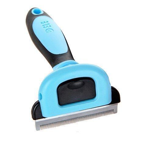 Cepillo deslanador para mascota con pelo corto a mediano color azul