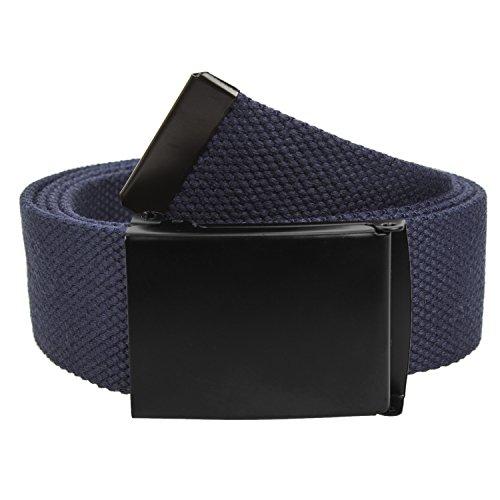 Gelante Fully Adjustable Canvas Web Belt with Black Flip Top Buckle 50'' Long (Adjustable Web)