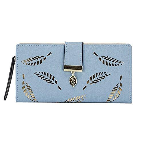 Women Retro Long Leather Wallet Black Light Blue - 8