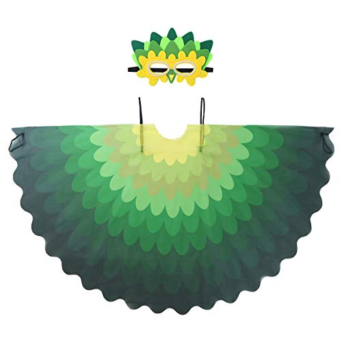 Freebily Kids Girls Boys Fairy Bird Costumes Halloween Owl Peacock Wings with Mask Feathered Party Favors Dress Up Type A One Size]()