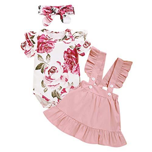 Amissz Pasgeboren Baby Meisje Kleding Sets, 3 Stuks Outfits Baby Meisje Lange Mouw Romper Jumpsuit T-Shirt Hoofdband…