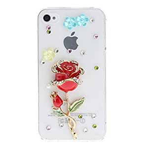 conseguir Look Red Diamond 3D caso duro del diseño PC transparente Rose para el iPhone 4/4S