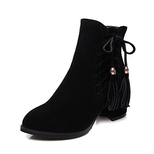 AmoonyFashion Womens Low-Top Solid Zipper Pointed Closed Toe Kitten-Heels Boots Black UeLHLL4Gj