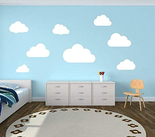 Nursery Room Wall Sticker Baby Shower  EP355 Cloud Wall Decal Watercolor Cloud Sticker Removable Decal Set of 5 Cloud Kids Room Decor