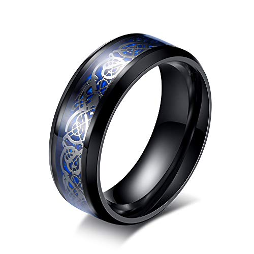 - LEEYA NL12 8mm Tungsten Carbide Ring Silvering Celtic Dragon Blue Carbon Fibre Inlay Wedding Band Size 6-13 (11, Black)