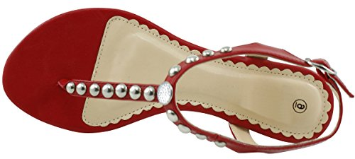 Cambridge Select Womens T-Strap Slingback Studded Crystal Rhinestone Thong Low Wedge Sandal Red l55V9