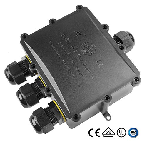4 Way Electrical Junction Box, La Vane IP68 Waterproof 4 Way Cable Connector Lighting Connector Electric External Coupler, Cable Gland Ø 4-14mm ()