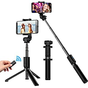 Selfie Stick Tripod, Extendable Selfie Stick with Bluetooth Wireless Remote and Tripod Stand for iPhone X/8/8 Plus/iPhone 7/7 Plus /Galaxy Note 8/S8/S8 +