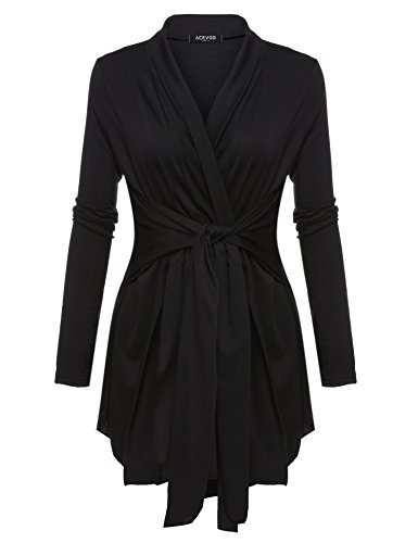 ACEVOG Women's Long Sleeve Cardigan Tie Waist Thin Sweaters Open Front Lightweight Soft Drape Cardigans (S-3X)