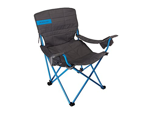 Kelty Deluxe Reclining Lounge Chair, Smoke/Paradise Blue - Folding Camp Chair for Festivals, Camping and Beach ()