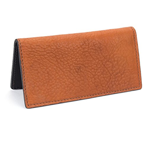 Bison Leather Checkbook Cover (Brown)