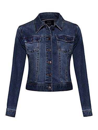 Design by Olivia Women's Classic Casual Vintage Denim Jean Jacket/Vest Dark Denim M ()
