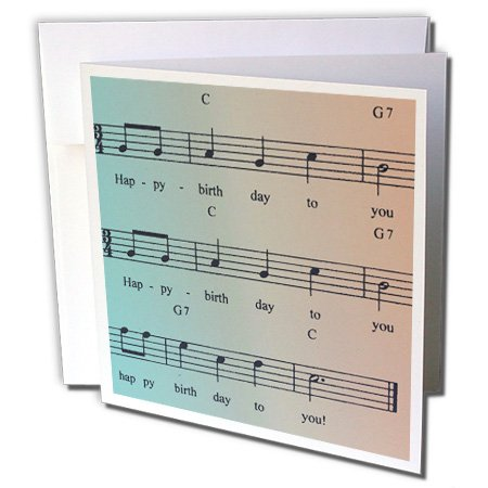 (3dRose Greeting Cards, 6 x 6 Inches, Pack of 12, Song with Notes Happy Birthday- Music (gc_99275_2))