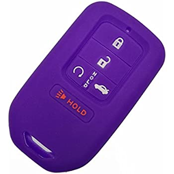 Coolbestda Silicone Key Fob Skin Remote Case Cover Shell Wallet Keyless Jacket Full Covered for A2C81642600 2015 2016 2017 Honda Civic Accord Pilot CR-V Smart 5 Buttons Key Purple