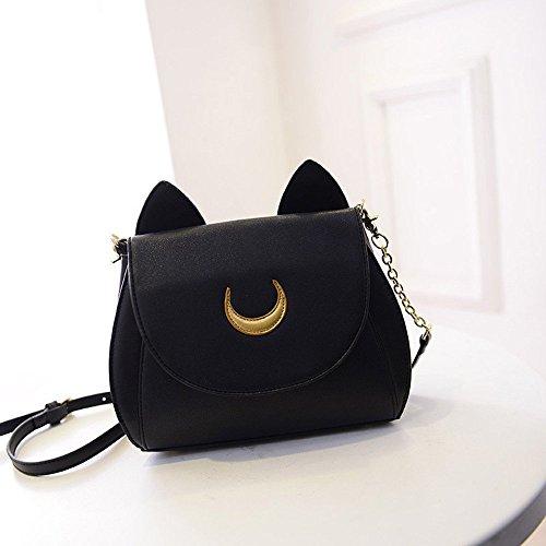 Amazon Lightning Deal 81% claimed: Yong8 Cosplay Sailor Moon Usagi ear PU Leather Women Handbag Shoulder Bag (Black)