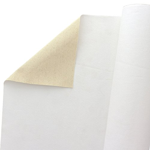 U.S. Art Supply 63' Wide x 6 Yard Long Canvas Roll - 100% Cotton 12 Ounce Triple Primed Gesso Artist Painting Backdrop