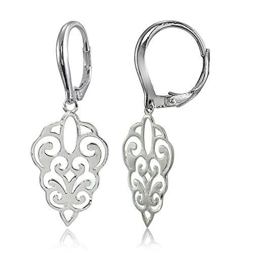 Sterling Silver High Polished Filigree Dangle Leverback Earrings