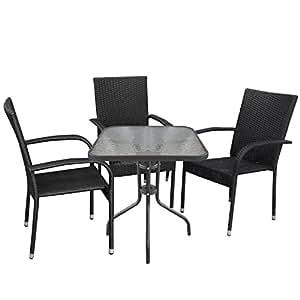 4piezas jardín muebles de Bistro (mesa de cristal 60x 60cm geriffelte mesa tablero de cristal Sillón de ratán rattan Silla silla apilable Negro Asiento–Muebles de Jardín