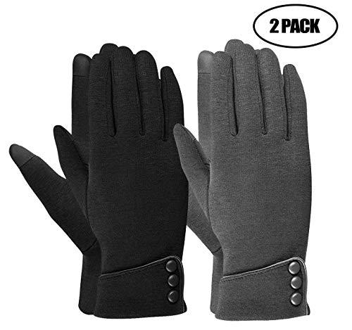 Womens TouchScreen Gloves Black+Grey
