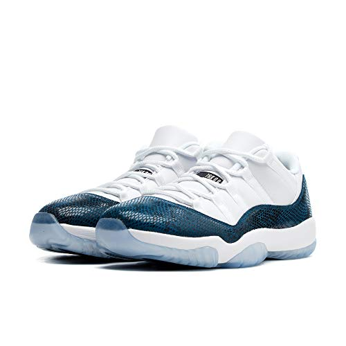 Leather Black Jordan - Jordan Men's Retro 11 Low LE White/Black/Navy Leather Basketball Shoes 10 M US