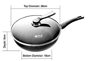 PLE Porcelain Enamel Titanium Diamond Non-Stick 6 Coatings Wok Pan Cookware with Glass Lid (11'')