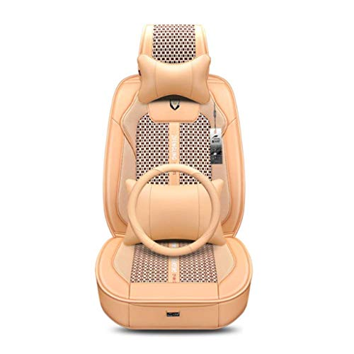 QF Car Seat Cushion Ice Silk 3D Universal Four Seasons Breathable For Five Seats (Color : Beige):