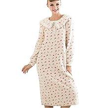 BININBOX Women's Sweet Floral Flannel Nightgown Sleepwear