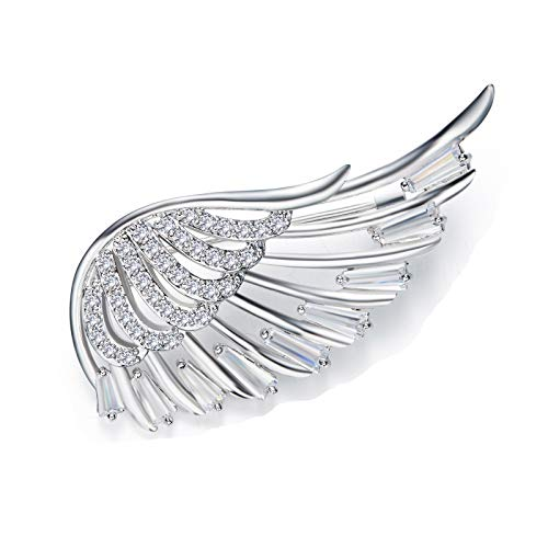 EoCot Brooch Pin for Women Wing You are My Angel Rhinestone Inlaid Wedding Bridal Valentine Gift
