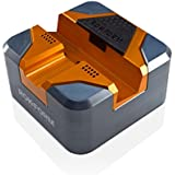 Rokform iPhone 5,5s / SE / 6,6s / 6,6s Plus Solid Aluminum Charging Dock Station and Lightning Cable, Made in the USA. (Orange/Gun Metal)