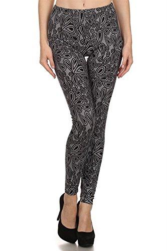 Elegant4U Junior's Fancy Etched Floral Design on Lace Printed Leggings
