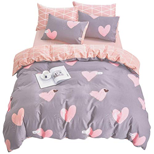 ELLE & KAY Grey and Pink Love Hearts Duvet Cover Set - 100% Cotton, Zipper Closure, Reversible Teen Bedding Set - Lightweight, Premium Quality, Hypoallergenic, Soft Comforter Cover, 3 Pieces - Hearts Cute Pink