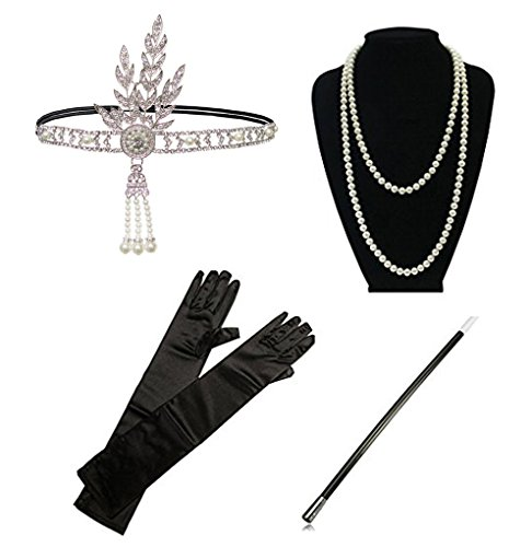 Kathyclassic 1920s accessories Headband Earrings Necklace Gloves Cigarette Holder Flapper Costume accessories Set For Women (Flapper Dress Accessories)