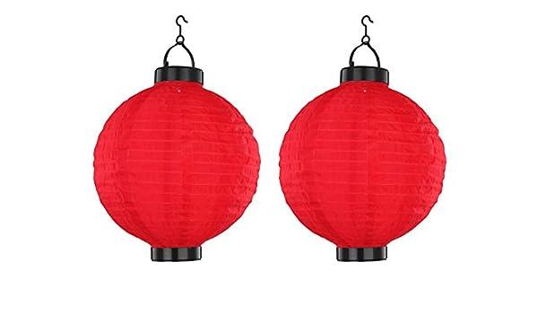 Juego de 2 LED Lámpara solar Farolillo Rojo, Jardín Lámpara Colgar 25,5 cm de diámetro, Globo Lighting: Amazon.es: Iluminación