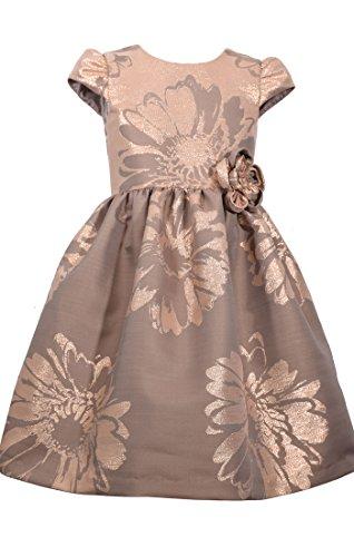 Bonnie Jean Cap Sleeve Jeans (BONNIE JEAN Big Girl's 7-16 Cap Sleeve Damask Party Dress (7, Gold))