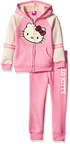 - Hello Kitty Little Girls 2 Piece Hooded Fleece Active Set, Pink, 6