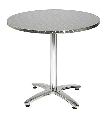 KFI Seating Outdoor/Indoor Round Pedestal Table X Base, Stainless Steel, Commercial Grade, 32-Inch
