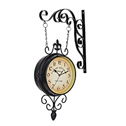 HTJYJH Classic Nostalgia Double Sided Iron Wall Clocks Home Decor Mediterranean Style Mute Hanging Clock