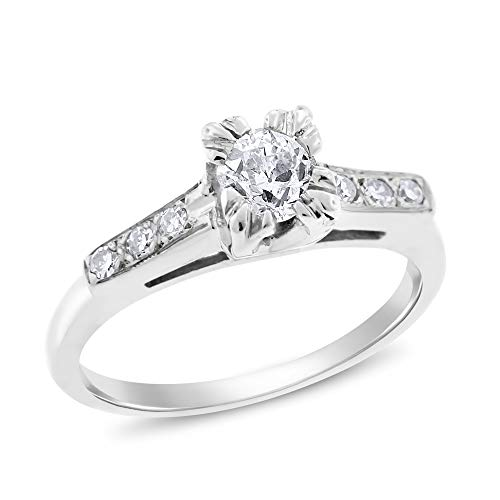 (Desire My Diamonds 0.47 Ct. Vintage Estate Engagement Ring High Profile in Solid 14k White Gold)