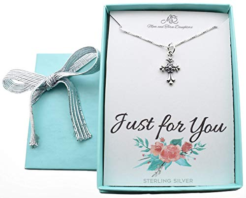 Girl's Scrolled Cross necklace in sterling silver on a 14 inch sterling silver Box chain w/2 inch extender. Little girls jewelry. Christian Childrens jewelry.]()