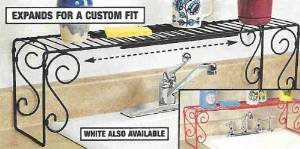 EXPANDABLE SCROLL METAL OVER THE SINK SHELF   RED