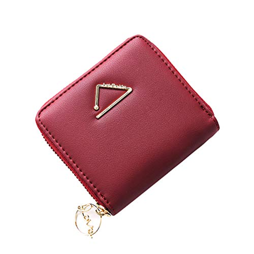 Womens Card Wallet Zipper Around Purse Girl Mini Pocket Coin Cash Card Multi Clutch Compact Handbag Winered
